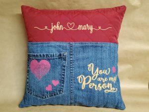quilt and denim pillow